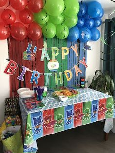 Ideas for superhero birthday party decorations boys Pj Masks Birthday Cake, Baby Boy 1st Birthday Party, Superhero Birthday Party, 4th Birthday Parties, Birthday Ideas, Happy Birthday Kids, Pjmask Party, Party Ideas, Pj Mask Party Decorations