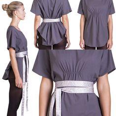 Lorina Grey T shirt Tunic / Oversize Tunic Tee with by YanaThal