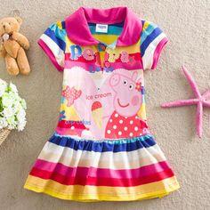 Una pieza! Nuevos 2016 vestidos de verano de dibujos animados de cerdo bebé vestido de Partido de las muchachas, muchachas de los cabritos de la muchacha, de los niños niño ropa infantil tutu(China (Mainland))
