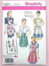 Simplicity 1221 Sewing Pattern - Misses' Vintage Retro 1940's Aprons