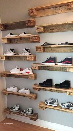 Unique Shoe Organizer For A Decluttered Closet – DIY Room Organization Ideas – Top Trend – Decor – Life Style Diy Shoe Storage, Diy Shoe Rack, Storage Ideas, Shoe Racks, Storage Solutions, Boutique Interior, Rustic Furniture, Diy Furniture, Furniture Design