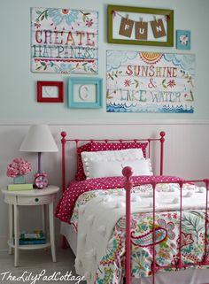Love this room...the bed, the quilts, the artwork, the color...everything.