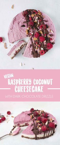 No-bake Raspberry Chocolate Cheesecake - Vegan Desserts - Cake-Kuchen-Gateau Chocolate Raspberry Cheesecake, Coconut Cheesecake, Breakfast Cheesecake, Raw Vegan Cheesecake, Raw Vegan Cake, Raw Cake, Cheesecake Recipes, Desserts Crus, Raw Desserts