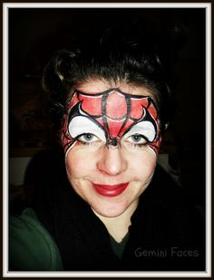 spiderman forehead face painting