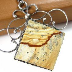 Tiramisu Necklace - Picture Jasper and Sterling Silver