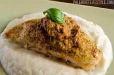 Roast Chicken with Sundried Tomato Pesto and Cauliflower Mash