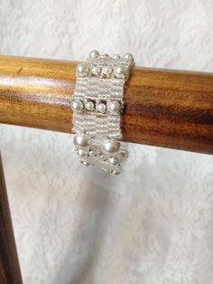White 3 Drop Peyote Bracelet by ReneesBrambleBeads on Etsy, $34.00