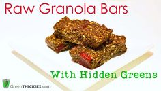 Raw Granola Bar Recipe With Hidden Greens.  Put your Green Smoothie in your…