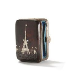 d6b11492e03 Paris Exposition 1889 Souvenir Purse | Tortoiseshell with Silver and Mother  of Pearl Eiffel Tower