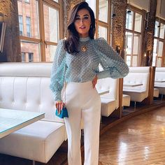 Transparent Jacquard Dot Blouse With Bubble Sleeve solid color shirt – Stylnbo Classy Outfits, Chic Outfits, Spring Outfits, Fashion Outfits, Glamorous Outfits, Grunge Outfits, Looks Chic, Looks Style, Blue Blouse Outfit