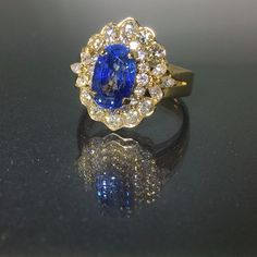 GIA Certified 18k gold Natural VS-1 Diamond & Blue Sapphire ring 5.01ctw VIDEO<- #CocktailCluster