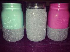 Homemade glitter mason jars  -Shawney