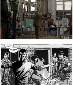 The groups' leader welcoming Rick and company. (Comics: It was Chris, the leader of The Hunters. TV: It was Gareth, the leader of the Termius