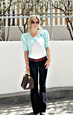 j. brand love story inspiration... with white shrug, BR trouser jeans and coral VS bra top, LV speedy
