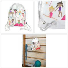 Mädchen Turnbeutel, Balletttasche Baumwolle - weiß, beidseitig mit bunten Turn School Supplies, Bunt, Ebay, Cinch Bag, Ballet, Clothing Accessories, Gymnastics, Cotton, School Stuff