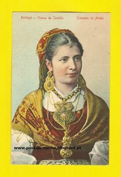 POSTCARD VIANA DO CASTELO GIRL COSTUMES PORTUGUESES ETHNIC PORTUGAL 1910y MINHO