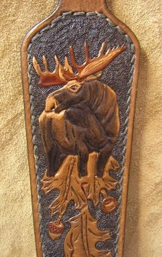 moose on rifle strap Leather Tooling Patterns, Leather Pattern, Leather Craft Tools, Leather Projects, Leather Belts, Leather Jewelry, Tooled Leather, Leather Rifle Sling, Leather Carving