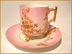 Limoges Porcelain 19th Century Footed Demitasse Cup and Saucer Set, hand painted