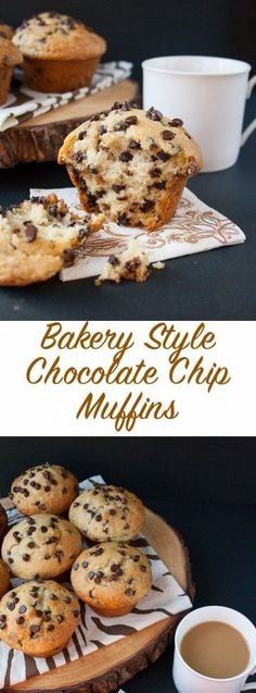 Bakery Style Chocolate Chip Muffins (video) is part of Easy chocolate chip muffin recipe - The BEST goto recipe for homemade chocolate chip muffins This is a moist bakery style muffin, loaded with chocolate chips and a skyhigh muffin top Delicious Desserts, Dessert Recipes, Yummy Food, Recipes Dinner, Cake Recipes, Brunch Recipes, Paleo Dinner, Bake Sale Recipes, Oreo Desserts