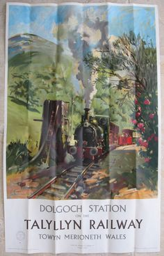 Dolgoch Station on the Talyllyn Railway. An atmospheric view by Cuneo, of one of the narrow gauge trains arriving in Dolgoch station on the Talyllyn Railway. Available on originalrailwayposters.co.uk