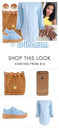 """@Brittnym Denim and light Brown"" by brittnym ❤ liked on Polyvore featuring MCM and Forever 21"
