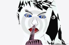 Beautiful mysterious girl abstract style.Illustration,