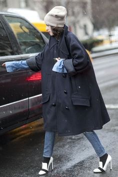 Pin for Later: Snow Problem! 33 Blizzard-Proof Street Style Looks  If a slice of ankle will be visible in your pants-and-shoes combo, add an extra layer with socks. It's as sartorially on point as it is smart.