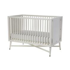 Mid-Century French White Crib :: Cribs and Convertible Cribs Modern Baby Cribs, Nursery Modern, Modern Bedding, Contemporary Cribs, Mid Century Legs, Best Crib, Convertible Crib, Crib Mattress, Nursery Furniture