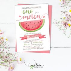 Watermelon Birthday Party Invitation / One in a Melon Birthday Invite / Watercolor Girl's First Birthday Invitation / Fruit Birthday Invite First Birthday Board, 1st Birthday Themes, Baby Girl First Birthday, First Birthday Invitations, First Birthday Parties, First Birthdays, Birthday Ideas, Birthday Design, Birthday Favors