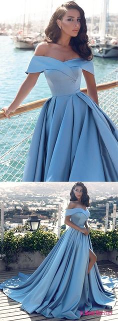 Long Prom Dresses,Baby Blue Off-the-Shoulder Evening Prom Dress On Sale. Party Dress, Formal Wear 2018 PD20188224