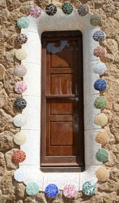 Gaudi Barcelona Architecture, Architecture Details, All About Doors, Antonio Gaudi, Garden Sofa, Mosaic Garden, Jeddah, Painted Doors, Windows And Doors