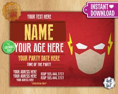 The Flash Invitation EDITABLE TEXT by ColorPrintsShoppe on Etsy