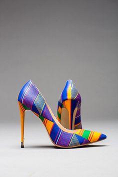 SAPPHIRA PUMPS  blue Ankara African print fabric women's | Etsy