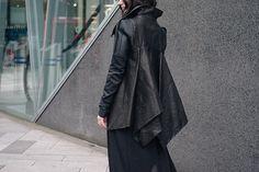 Fashion blogger Stephanie of FAIIINT wearing Rick Owens draped back cropped leather jacket fw10.