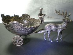 Antique German 800 Silver Figurine Salt Cellar Elk Pulling Cart