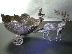 Antique German 800 Silver Figurine Salt Cellar Elk Pulling Cart