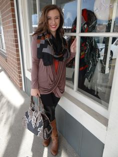 Faux leather detail leggings $24, scarf $18, top with drape neck $30, cami $8, necklace/earring set $18, Purse $50