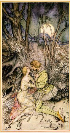 Sleeping Beauty' (1927) illustration by Arthur Rackham, poem by Bliss Carman.