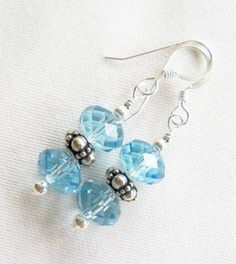 sterling silver earrings 8mm aquamarine briolette by TopsailWinds, $15.00