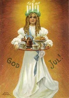 The Grand Duchy of Stollen: December is Santa Lucia Day! Swedish Christmas, Noel Christmas, Vintage Christmas Cards, Scandinavian Christmas, Christmas Pictures, Xmas, Vintage Cards, Christmas Girls, Holiday Images