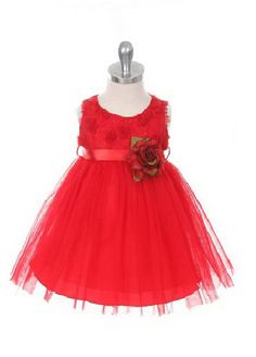 Flower Girl Dress Style 278 - RED Sleeveless Tulle Dress with Mesh Rolled Flower Dresses For Less, Summer Dresses, Red Flower Girl Dresses, Tulle Dress, Special Events, Bodice, Fashion Dresses, Wedding Dresses, Flowers