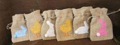 Small burlap Easter bag.  Custom Easter Basket by MadyBellaDesigns, $1.60