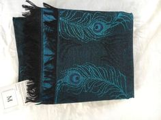 Metropolitan Museum of Art Blue Wool+Silk Peacock Jacquard Scarf/Shawl - NEW | eBay