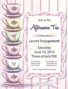 Tea Party Invitation Template on pink woodgrain plank background. On the left side is a a stack of six pink,yellow,green and blue fancy teacups on saucers. On the right is a pink swirly line art...