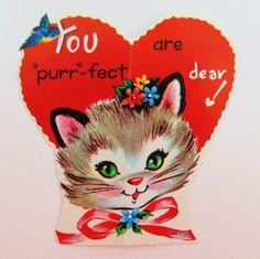 vintage valentine card cat valentine kitten valentine kitty cat valentine