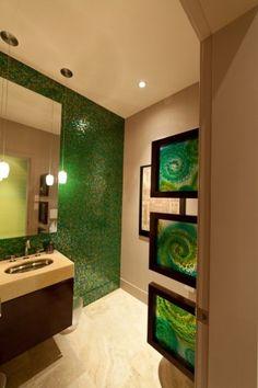 contemporary bathroom by Habitat Studio & Workshop-- green tile wall? Mosaic Tile Designs, Bathroom Tile Designs, Mosaic Tiles, Mosaic Wall, Mint Green Bathrooms, Bathroom Green, Brown Bathroom, Mosaic Bathroom, Bathroom Wall