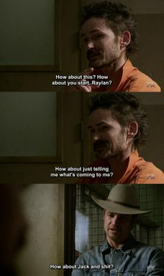 "Dickie Bennett (Jeremy Davies) and Raylan Givens (Timothy Olyphant) - ""Justified"""