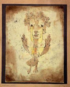 """Paul Klee,  Angelus Novus,Zeichnung entstand aus einer Karikatur Kaiser Wilhelms II.""""Engel der Geschichte"""". Haben wir in Hamburg gesehen."""