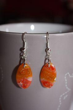 boucles d'oreille fimo et encre orange : Boucles d'oreille par les-creations-fimo-de-marie
