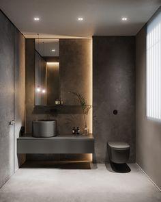 Warming Modern Spaces With Soothing Lighting Washroom Design, Toilet Design, Bathroom Design Luxury, Modern Bathroom Design, Bathroom Lighting Design, Modern Bathrooms, Bathroom Design Inspiration, Bad Inspiration, Design Ideas